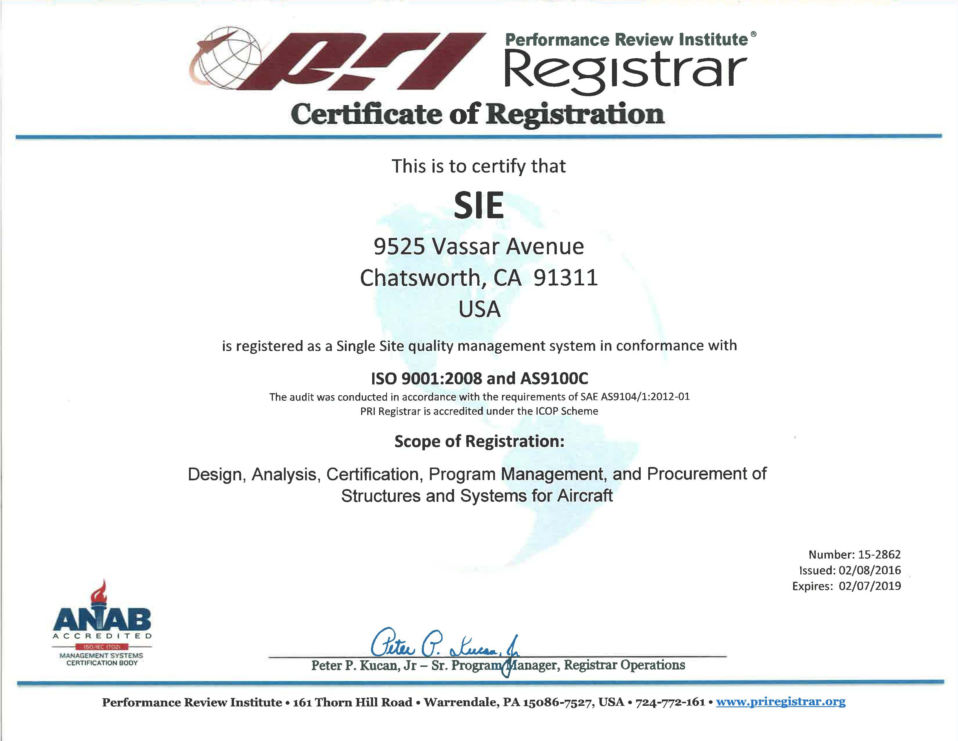 Image of image of the AS9100 Certificate